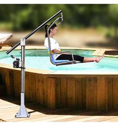 Poollift speziell für Becken mit umlaufender Brüstung