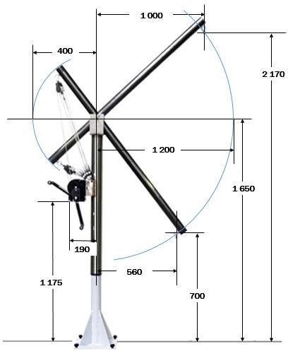 PP04-3 avec un mât de 1.5 m